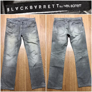 BLACKBARRETT by NEIL BARRETT - ブラックバレット送料込¥定価3万円程ニールバレット細身デニムコーティングジーンズ