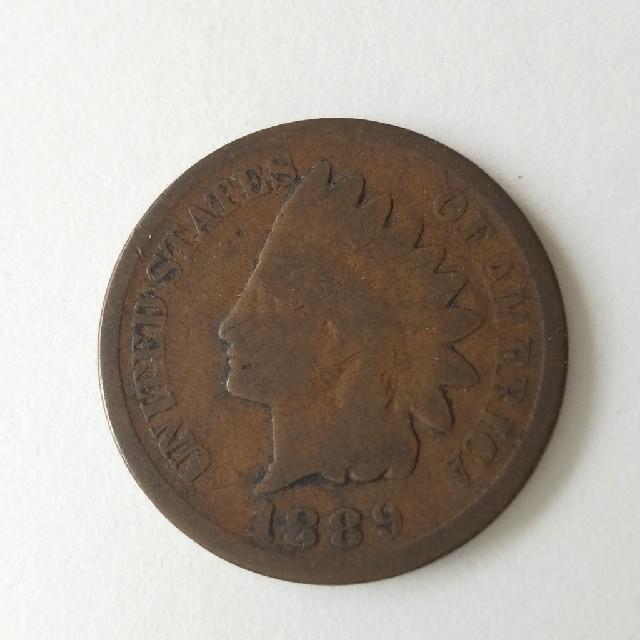 1889年 アメリカ 古銭 インディアン・ペニー硬貨 1枚 エンタメ/ホビーの美術品/アンティーク(貨幣)の商品写真