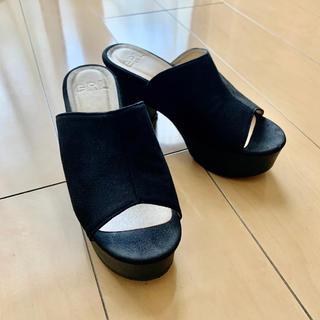 グレイル(GRL)のGRL グレイル サンダル オープントゥ ヒール 靴 シューズ 黒 ブラック(サンダル)
