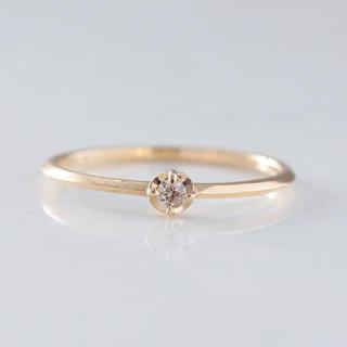 K10 ブラウンダイヤモンド 一粒 リング(リング(指輪))
