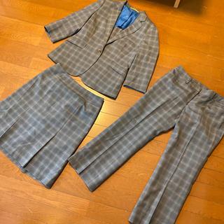 オリヒカ(ORIHICA)の極美品オリヒカのグレンチェックの洗えるスーツ3点セット 11号向けORIHICA(スーツ)
