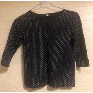 ムジルシリョウヒン(MUJI (無印良品))の無印良品 七分袖Tシャツ 140 黒(Tシャツ/カットソー)