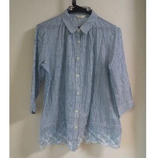 ベルメゾン(ベルメゾン)の綿混素材 裾刺しゅう ギャザーシャツブラウス ブルー(シャツ/ブラウス(長袖/七分))