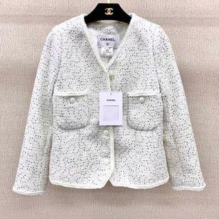 CHANEL - CHANEL ツイード  ホワイトスーツ  テーラードジャケット 36