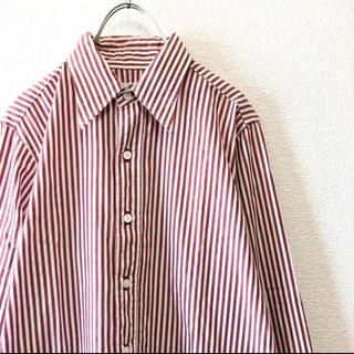 ニードルス(Needles)の【Mode】NEEDLES ストライプ柄 BD 長袖シャツ レッド ホワイト 2(シャツ)
