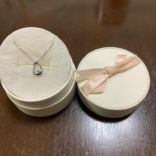 テイクアップ(TAKE-UP)の美品 テイクアップ しずくネックレス k10・アクアマリン・ダイヤモンド 刻印有(ネックレス)