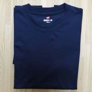 ヘインズ(Hanes)のHanes ヘインズ ビーフィーTシャツ Lサイズ ネイビー 超美品(Tシャツ/カットソー(半袖/袖なし))