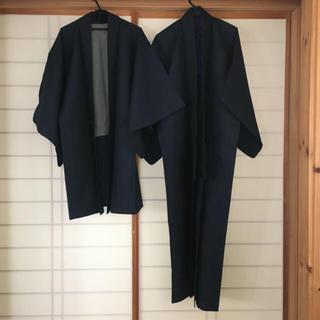 ミツコシ(三越)の紳士用 ウール アンサンブル 紺色(着物)