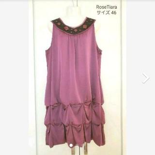 ローズティアラ(Rose Tiara)のローズティアラ 大きいサイズ バルーン ビジュー ワンピース ドレス(ひざ丈ワンピース)