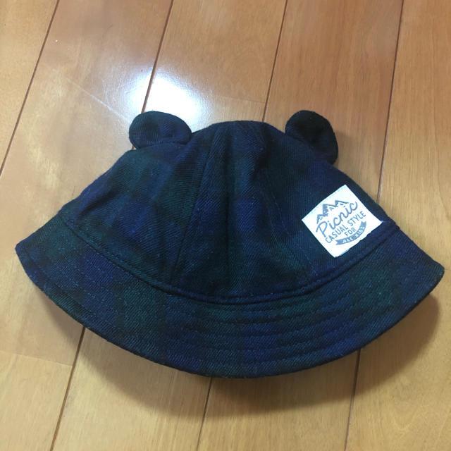 mikihouse(ミキハウス)の(42㎝)ミキハウストレード 新生児 ゴム付き くま耳帽子  キッズ/ベビー/マタニティのこども用ファッション小物(帽子)の商品写真