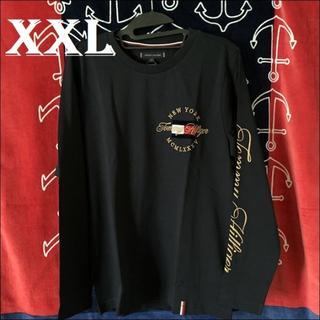 トミーヒルフィガー(TOMMY HILFIGER)のリッチな黄金のロゴ刺繍 ネイビーXXL ロンT TOMMY HILFIGER(Tシャツ/カットソー(七分/長袖))