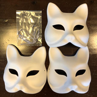 無彩色 猫面 狐面3個セット 未使用 ハロウィン仮面仮装ホワイトマスク(小道具)