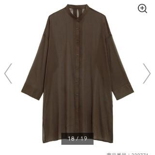 GU - GU シアーバンドカラーロングシャツ