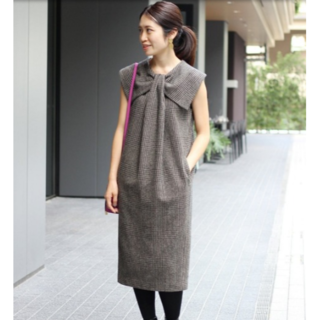 IENA - 美品IENA×Naoko Tsuji デザインチェックワンピース38