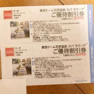 ヨミウリジャイアンツ(読売ジャイアンツ)のラクーア 割引券(その他)