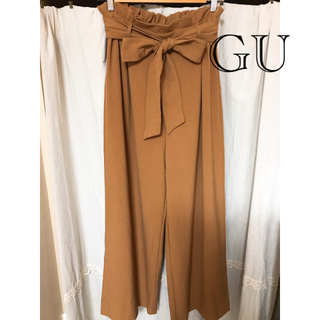 GU - GU リボン付 ワイドパンツ キャメル