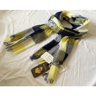 トゥモローランド(TOMORROWLAND)のアリアンナ ストール リネン シルク ブロックチェック 黄 紺 白 180×50(ストール/パシュミナ)