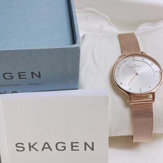 スカーゲン(SKAGEN)の未使用 スカーゲン ピンクゴールド メッシュベルト腕時計(腕時計)