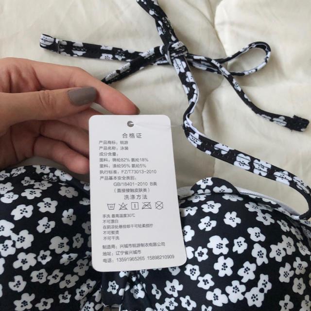 ❗️Lサイズラスト1点❗️韓国デザイン 花柄 ブラック水着 レオタード レディースの水着/浴衣(水着)の商品写真