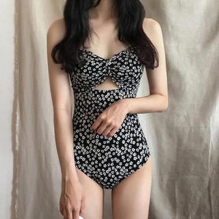 ❗️Lサイズラスト1点❗️韓国デザイン 花柄 ブラック水着 レオタード