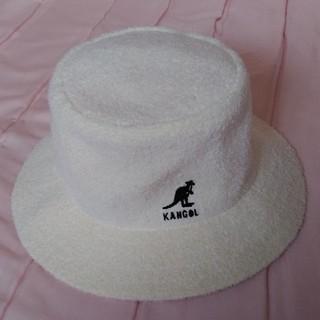 カンゴール(KANGOL)のKANGOL メンズ バケットハット 帽子 パイル ホワイト 古着 ヴィンテージ(ハット)