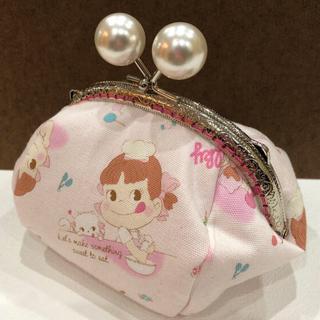 【ハンドメイド】ペコちゃん☆ビッグシェフ薄ピンク がまぐち