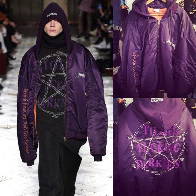 新品VETEMENTS TFDフード付 刺繍 MA-1 ボンバージャケット メンズのジャケット/アウター(ブルゾン)の商品写真
