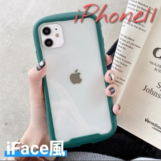 iPhone11ケース 人気 シンプル 透明  iFace風 グリーン