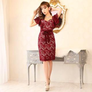 dazzy store - ヌーディーレースリボンベルトタイト膝丈ドレス キャバドレス ナイト ワンピース