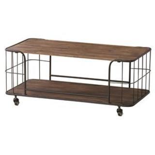 センターテーブル 木製(杉)/スチール 棚収納付き IW-994(ローテーブル)
