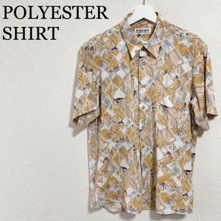 ★未使用★総柄シャツ 半袖シャツ メンズL ポリエステル レトロ ポリシャツ(シャツ)