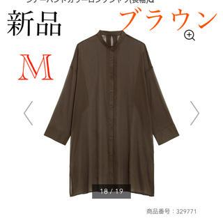GU - 新品 gu  シアーバンドカラーロングシャツ M ユニクロ ザラ 好きに