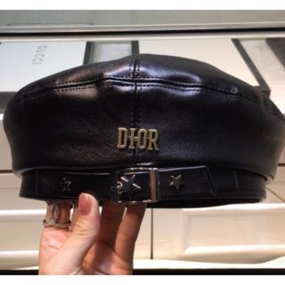 ディオール(Dior)のDIOR  ブラック  ベレー帽 (ハンチング/ベレー帽)