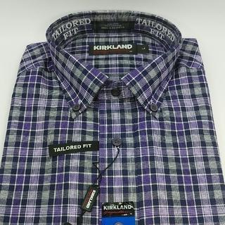 新品 KIRKLAND メンズ ノンアイロン長袖シャツ Lサイズ(シャツ)