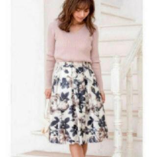 Apuweiser-riche - 花柄 スカート オフィス カジュアル フラワー