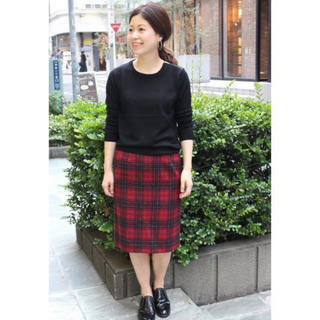 イエナスローブ(IENA SLOBE)のシャギーチェックタイトスカート(ひざ丈スカート)