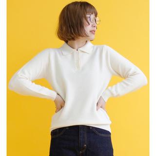 PAR ICI - 2018SS PAR ICI ガーター編み 長袖ポロシャツ