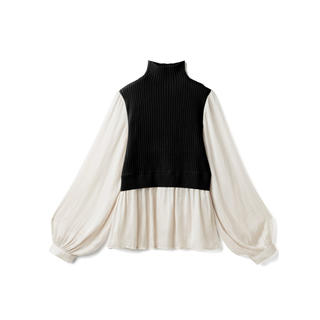 グレイル(GRL)のGRL ニットドッキングブラウス ブラック 新作 韓国ファッション カジュアル (シャツ/ブラウス(長袖/七分))