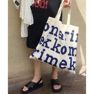marimekko - マリメッコ ロゴ  トートバッグ  エコバッグ ショルダー オルチャン 韓国 青