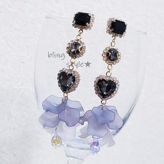 No.127 ブラック ビジュー クリスタル ドロップ 韓国ピアス イヤリング