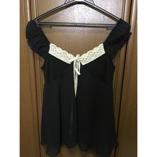 デイジー(Daisy)のDaisy デイジー レース フリル ブラウス 袖なし ブラック 日本製(シャツ/ブラウス(半袖/袖なし))