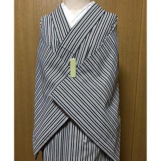 新品!洗える着物☆袷☆小紋/絶対人気!モダンで粋な白黒の縦縞模様