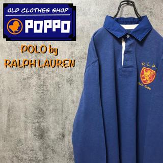 POLO RALPH LAUREN - ポロバイラルフローレン☆バックナンバー・刺繍ロゴ入りラガーシャツ 90s