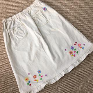 ミキハウス(mikihouse)の(140㎝)■ミキハウス/MIKIHOUSE■アイボリー刺繍スカート(スカート)