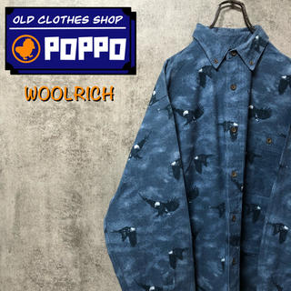 WOOLRICH - ウールリッチ☆ロゴタグ入りアニマル柄イーグル柄総柄ネルシャツ