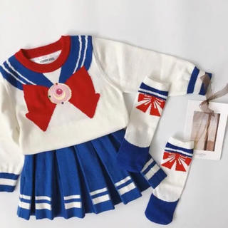 キッズ セーラーニットセットアップ 靴下付きハロウィン韓国子供服 コスプレ