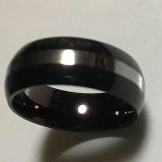 タングステン リング 19号 ブラック×シルバー 指輪(リング(指輪))