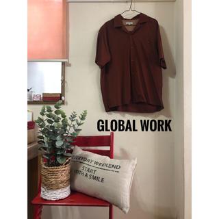 グローバルワーク(GLOBAL WORK)のGlobal Work オープンカラーシャツ ブラウン(シャツ)