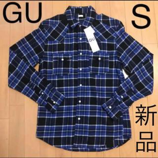 GU - GU  新品タグ付き 長袖シャツ ネルシャツ チェックシャツ S  青