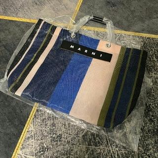 Marni - Marni マルニ ショッピングバッグ ストライプトートバッグ ナイトブルー